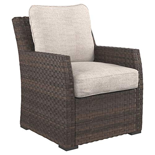 Ashley Furniture Signature Design - Salceda Outdoor Lounge Chair with Cushion - Wicker - Beige & Brown (Designs Cottage Lounge)