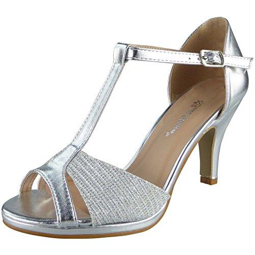 Des mariée Peeptoe d'honneur Demoiselle Talons 41 Fête Dames De Argent sandales Taille 36 p0OBq