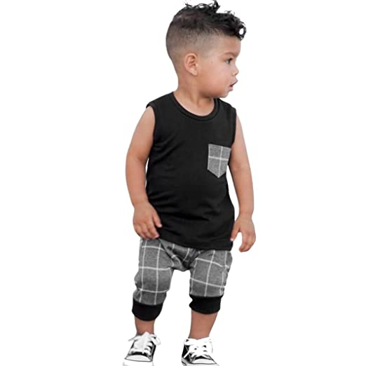 aed488b233f Moonker 2Pcs Toddler Infant Newborn Baby Boys Summer Clothes Tops Vest  Plaid Shorts Outfits Set (