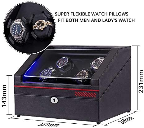 Watch Winder, Automatic Watch Winder Box for 4 Watches + 4 Extra Storages, Flexible Pillows & LED Illumination, Coffee Leather Shell Watch Winding Machine with 4 Rotation Mode Setting, Silent Motor WeeklyReviewer