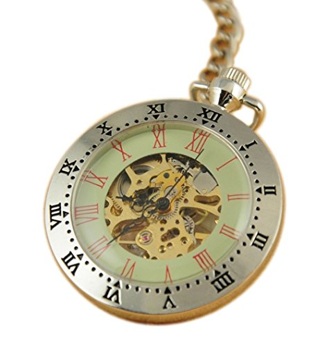 VIGOROSO Men's Retro Roman Numbeals Skeleton Pendant Steampunk Hand wind Chain Mechanical Pocket Watch by VIGOROSO