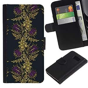iKiki Tech / Cartera Funda Carcasa - Vignette Wallpaper Gold Purple - Samsung Galaxy S6 SM-G920