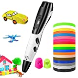 3D Pen, TOPELEK 3D Printing Pen with 18 Color Kid-Safe PLA Filaments, LED Display, USB Charging, 3 Speed Adjustable, Intelligent Drawing Pen, Perfect Gift for Kids & Adults, Safe and Easy