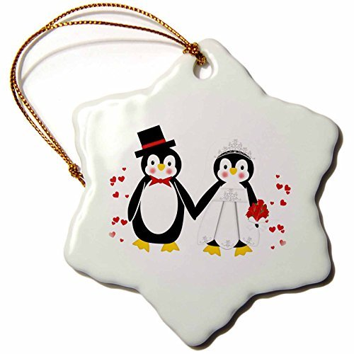 3dRose orn_164801_1 Cute Red Hearts Penguin Bride and Groom Wedding Couple-Snowflake Ornament, Porcelain, 3-Inch ()