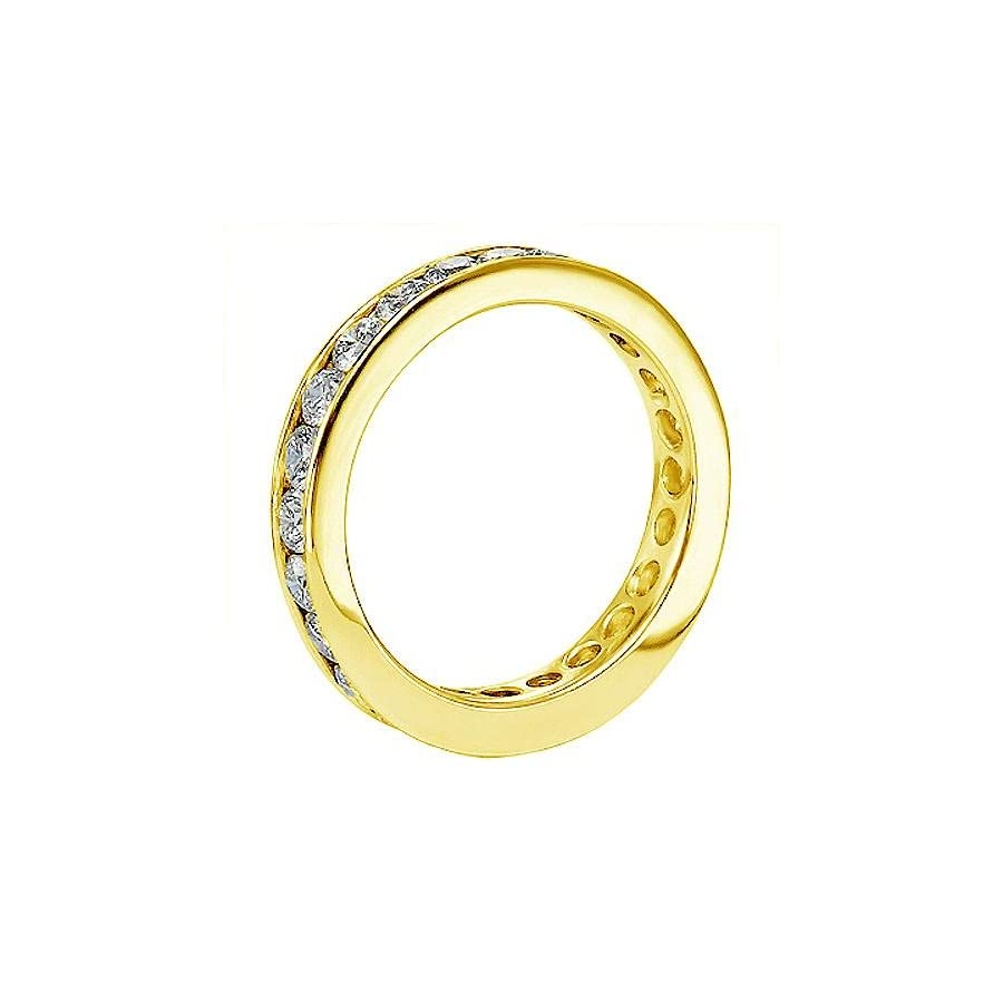 VIP Jewelry Art 18K Yellow Gold Round Diamond Eternity Anniversary Wedding Band in Channel Setting (1,65 2.25 CT TDW)
