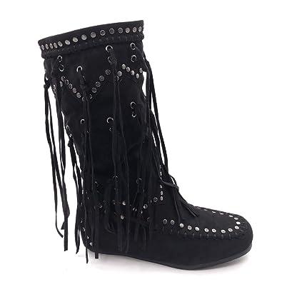 43d2c2e8cc181 Angkorly - Chaussure Mode Botte Bottes Indiennes Cavalier Folk Femme Frange  clouté Talon Plat 5 CM