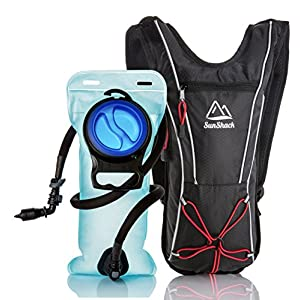 SunShack 2L Sports Hydration Pack with 2 Liter Water Bladder - Lightweight and Compact Thermal Backpack for All Terrain Running, Cycling and Hiking. Reflective Lines, Black