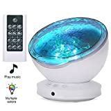 [2019 Upgraded]Ocean Projector Lamp Night Light+Remote Control+Timer, Bedside Child Lights Baby Gifts with 8 Color Modes+6 Music Sounds+Angle Adjustment for Party Decora