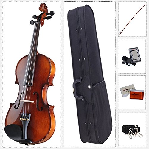 ADM Acoustic Violin 4/4 Full Size with Hard Case, Beginner Pack for Student, Red Brown