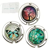 ROFLYER Purse HookSet of 3 - Butterfly,Wish Tree,Peacock Foldable Handbag Hanger Safer Cleaner Bag, Fold Up For Easy Storage,Folding Table Hanger, with Velvet Pouch