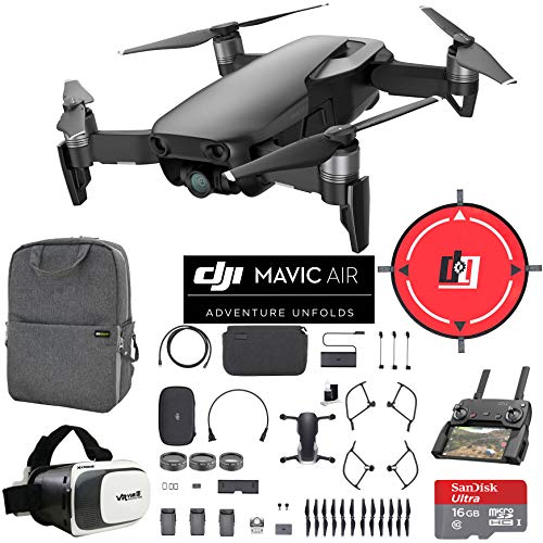 DJI Mavic Air Fly More Combo (Onyx Black) Drone Combo 4K Wi-Fi Quadcopter with Remote Controller Mobile Go Bundle with Backpack VR Goggles Landing Pad 16GB Card and HD Filter Kit