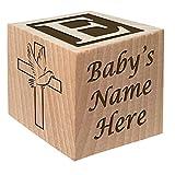 Baptism Gift - Christening Gift - Personalized Baby Block Baptizm Gift Custom Engraved Wooden Baby Block for Boy & for Girl Keepsake from Godparent Godmother Christen Communion Catholic