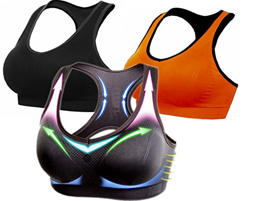 BRABIC Women's Sports Bra with Padding High Impact Pack of 4 (M, BlackGreyOrange)