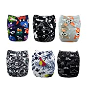 ALVABABY New Printed Design Reuseable Washable Pocket Cloth Diaper 6 Nappies + 12 Inserts (Send One Set By Random)6DM33