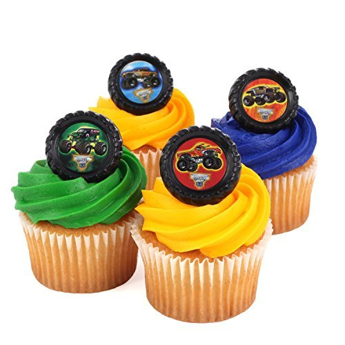 Monster Jam Officially Licensed 24 Cupcake Topper Rings]()