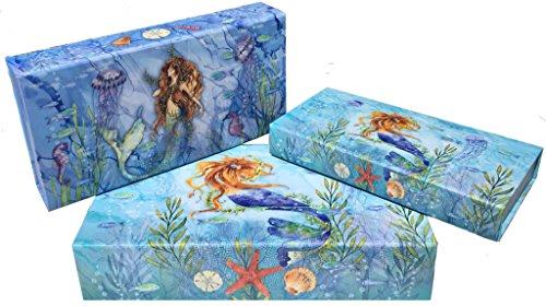 Punch Studio Mermaid Pencil Desk Jewelry Organizing Decorative Boxes   61937 9   Set Of 3