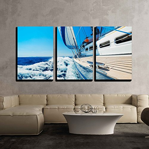 wall26 3 Piece Canvas Wall Art - Yacht, Sailing Boat in The Sea - Modern Home Decor Stretched and Framed Ready to Hang - 24