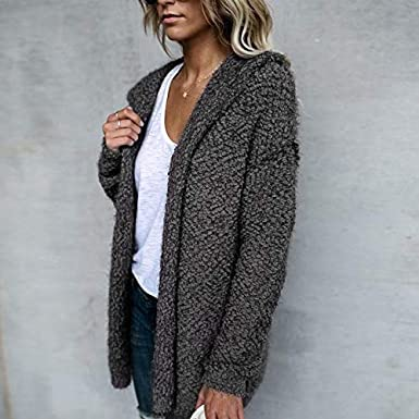 Dorani Women Winter Casual Hooded Knitted Sweater Cardigan Coat S-XL