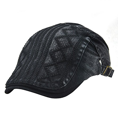 UNIQUEBELLA Adjustable Newsboy Cap Ivy Flat Hat Gatsby Golf Driver Beret Caps for Men & Women-84-89,Black