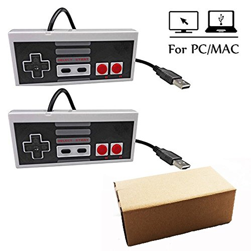 Mekela 2 Packs 5.8 feet Classic USB wired Controller Gamepad resembles NES for Laptop Computer Windows PC/MAC/Raspberry Pi (Gray and Gray1)