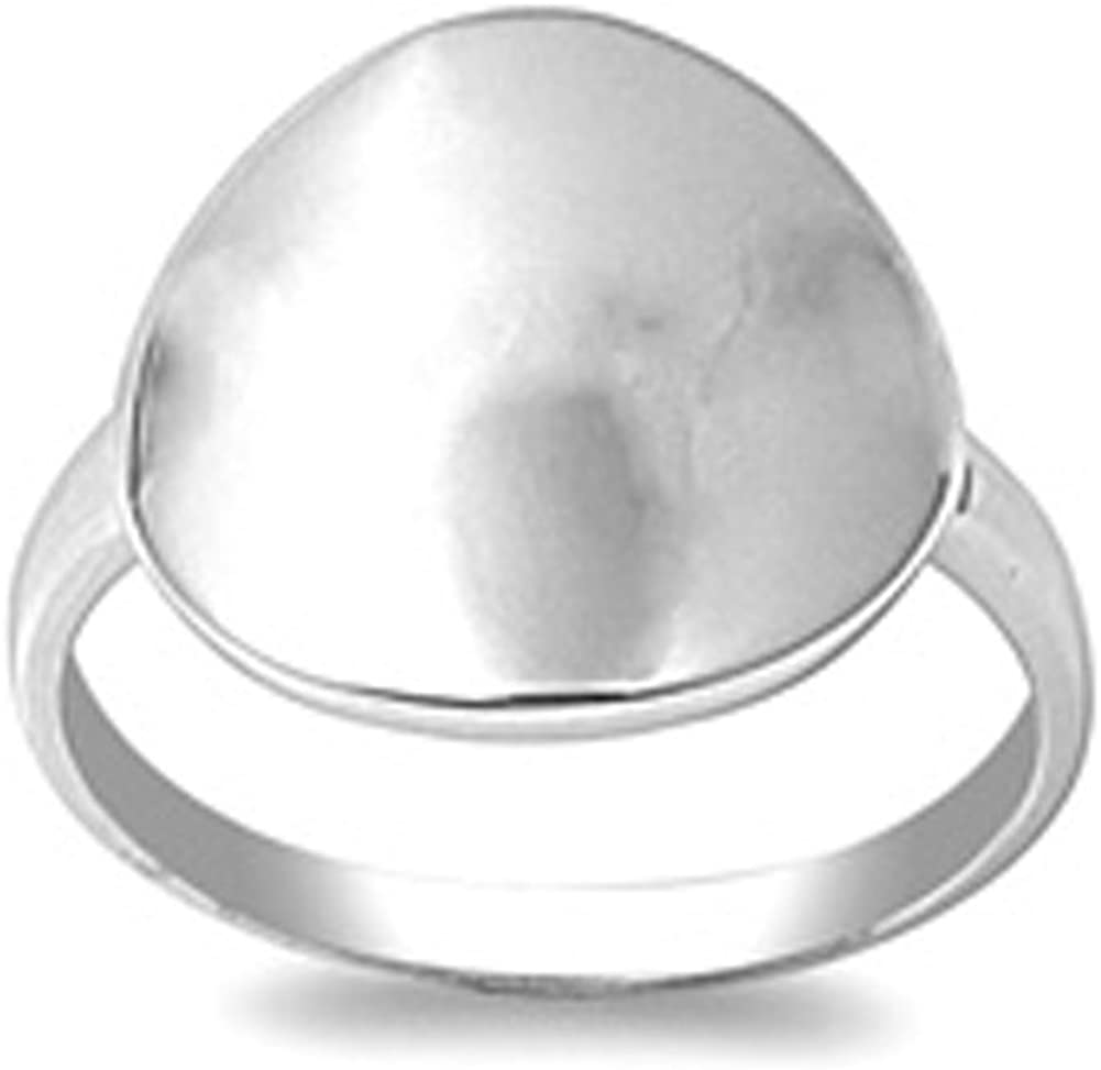 Oval Ring New .925 Sterling Silver Band