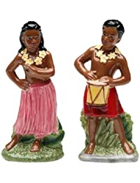 Bargain Dancing Hawaiian Hula Girl and Drummer Boy Salt and Pepper Shakers by Cg saleoff