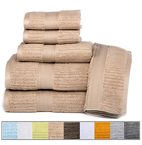 ELEGANCE SPA CASA LINO Quick Dry Towels 100% Cotton Zero Twist Towel Set 6-Piece, Soft Absorbent, spa Towels 2 Bath Towels, 2 Hand Towels, 2 Face Towels Set (Latte)