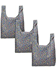 LUXJA Reusable Grocery Bags Set of 3, Foldable Shopping Bags with Attached Pouch, Washable, Durable and Lightweight