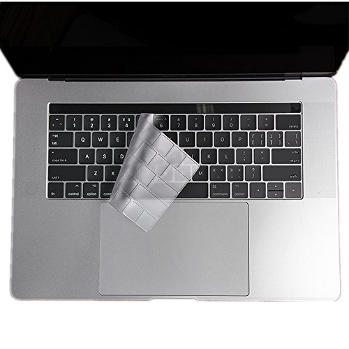 Se7enline Keyboard Cover for MacBook Pro 13 15 inch (With Touch Bar) 2016/2017/2018 Version Model A1706/A1707/A1989/A1990 Silicone Protective Cover Skin (US Layout), Transparent-Clear