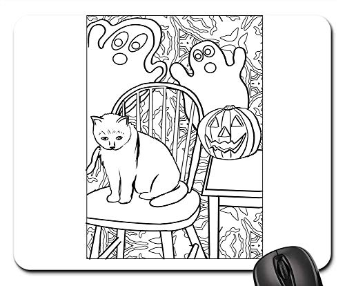 Mouse Pads - Cat Ghost Pumpkin Halloween Artwork Coloring -