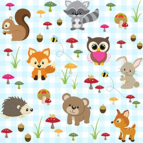 [Euro Organic Knit Forest Friends on Blue Design Fabric By the Yard, 92% Cotton, 8% Lycra, 60 Inches Wide, 4 Way Stretch, Medium Weight (2] (2 Person Halloween Costumes For Kids)