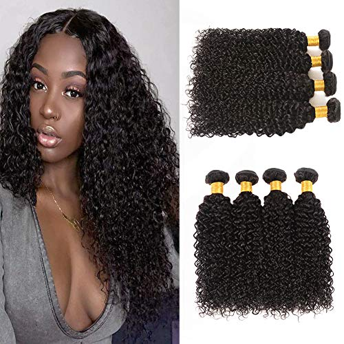 Huarisi Brazilian Kinkys Curly Hair 4 Bundles Virgin Hair Weave Long Jerry Curls Human Hair Extensions Sew In Weaving 95-100g/Pcs Double Weft No Shedding 22 24 26 28
