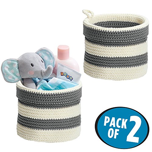 mDesign Hand Knit Round Toy Storage Organizer Basket Bin for Baby, Toddler, Kids Bedrooms, Playrooms, Nurseries - Perfect for Changing Table - Folds Flat for Compact Storage – Pack of 2, Gray/White (Crocheted Baskets)