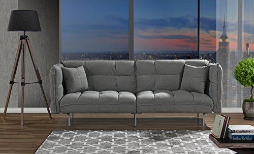 Divano Roma Furniture Collection - Modern Plush Tufted Velvet Fabric Splitback Living Room Sleeper Futon (Light Grey)