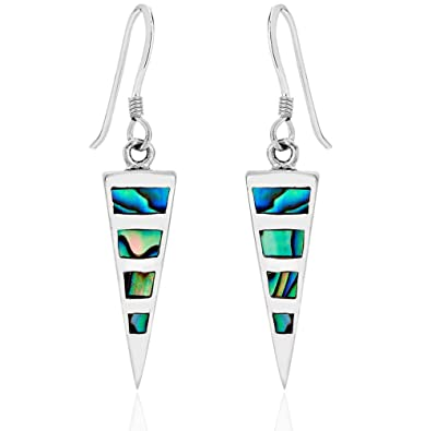 b2a45acdb DTPSilver - 925 Sterling Silver and Abalone Paua Shell Triangle Earrings:  Amazon.co.uk: Jewellery