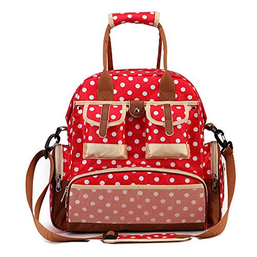 BigForest Multifunction Baby Backpack Diaper Bag Nappy Baby Diaper Bag,Travel Backpack Shoulder Bag Fit Stroller Changing Pad Tote Bag Red