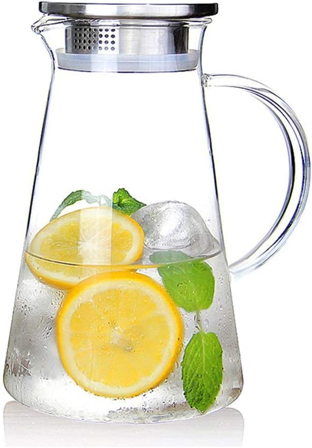 susteas 2,0 litros Jarra de Vidrio con Tapa Jarra de té Helado Jarra de Agua Agua fría Caliente té Helado café Vino Leche y Jarra de Bebidas de Jugo