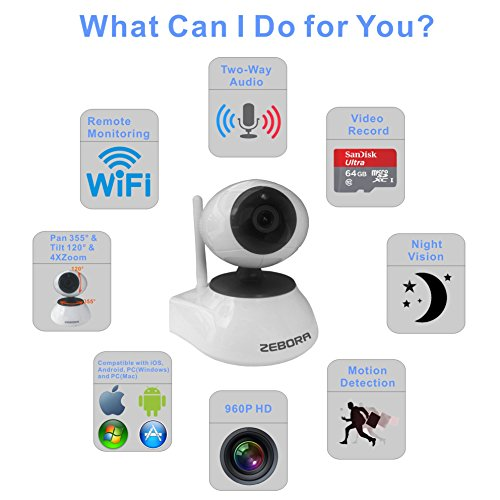Zebora WiFi Wireless Network IP Security Surveillance Video Camera System with Pan, Tilt and Night Vision