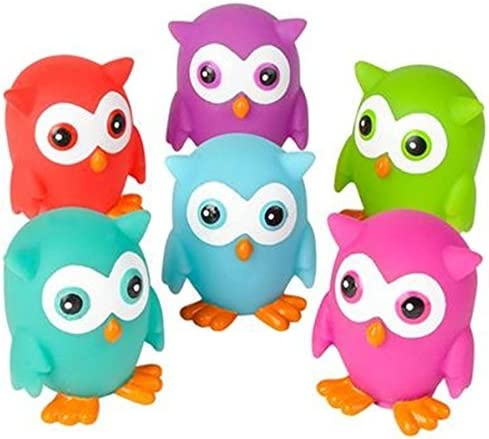 can squirt water for bath time fun Mini Rubber OWLS Pack of 12 bright colors toyco SG/_B01DCAQU5S/_US