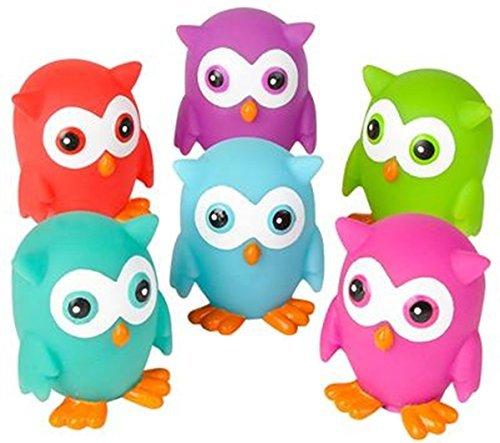 Mini Rubber OWLS (Pack of 12) bright colors - can squirt water for bath time fun! for $<!--$9.06-->