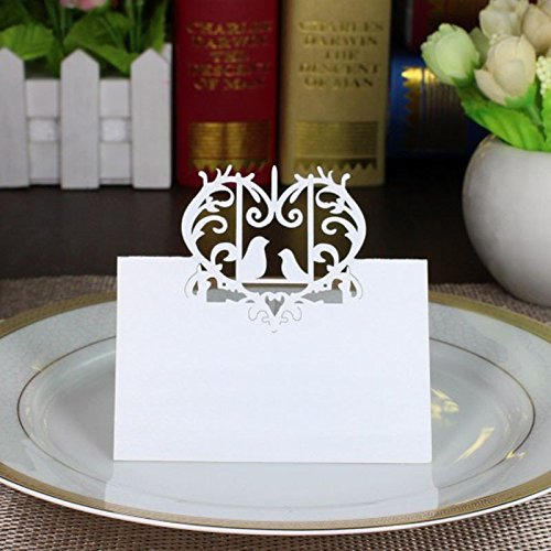 Sorive Laser Cut Perfect Pair Love Birds Heart Wedding Place Card Table Number Banquet Party Decoration / Wedding Guest Cards (100)