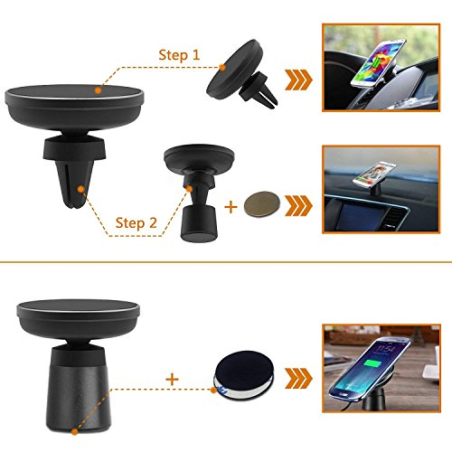 Fast Wireless Car Charger Magnetic Charging Pad Car Mount on Dashboard and Air Vent Phone Holder for Samsung Galaxy S9 (Plus) Note 8 S8 Standard Wireless Charging for iPhone X/8 Plus by Spedal (Image #2)