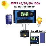 driver de carga solar, regulador inteligente de panel solar, temporizador digital automático, visualización LCD, carga de salida USB dual para teléfonos móviles iPhone y Android, 100A, free size