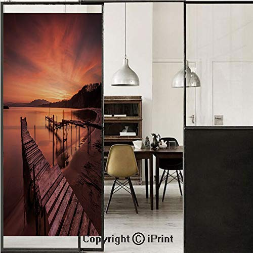 Price comparison product image Scenery House Decor 3D Decorative Film Privacy Window Film No Glue, Frosted Film Decorative, Old Rustic Pier on Beach and Romantic Tranquil Sky Pure Twilight Concept, for Home&Office, 23.6x59Inch Orange