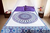 Whats the Difference Between a King and California King Purple Paisley Mandala Tapestry Bedding with Pillow Covers, Indian Bohemian Hippie Wall Hanging, Hippy Blanket or Beach Throw, Mandala Ombre Bedspread Set for Bedroom, Purple Full Size Boho Tapestry