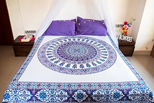 (Purple Paisley Mandala Tapestry Bedding with Pillow Covers, Indian Bohemian Hippie Wall Hanging, Hippy Blanket or Beach Throw, Mandala Ombre Bedspread Set for Bedroom, Purple Full Size Boho Tapestry)