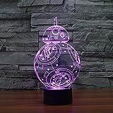 Huiyuan 3d Lamp Star War Fuwa Force Awaken Bb-8 Night 7 Color Change Best Gift Night Light LED Furnish Desk Table Lighting Home Decoration Toys