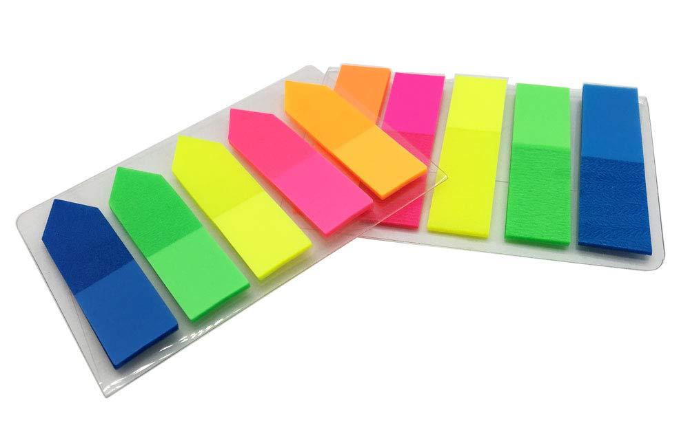 Yowanted 2/set segnalibro colorati divisori bandiere fluorescente foglietti adesivi per segnalibro a 200/pezzi