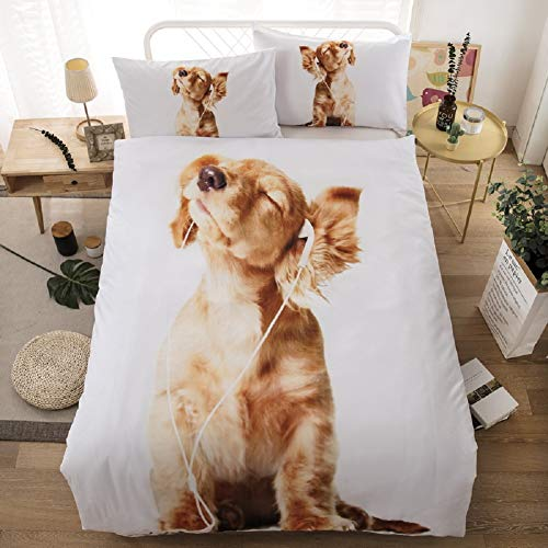 (APJJQ Kids Animal Printed Duvet Cover Set Twin Size,Brown Dog with Earphones Background White Bedding Set for Children,Boys,Girls and Teens,Microfiber 3 Piece with 2 Pillow Shams,No Comforter,No Quilt)