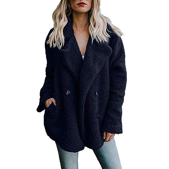 FELZ Abrigos de Invierno para Mujer con Bolsillo Abrigo de Lana Casual Manga Larga Abrigos Suelta Tallas Grandes: Amazon.es: Ropa y accesorios